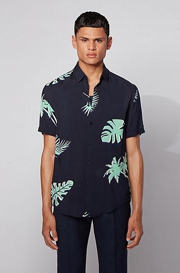 棕榈叶印花短袖修身版衬衫,  402_暗蓝色