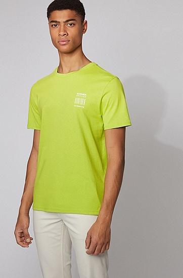 背面图案印花可回收棉质 T 恤,  735_亮黄色