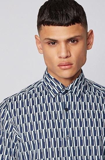 印花棉加亚麻混纺常规版型衬衫,  407_暗蓝色