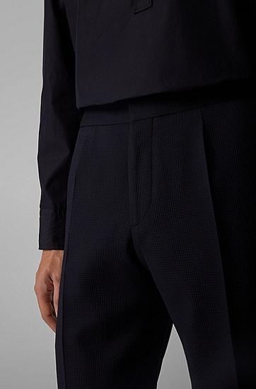 男士弹力泡泡布修身长裤,  402_暗蓝色