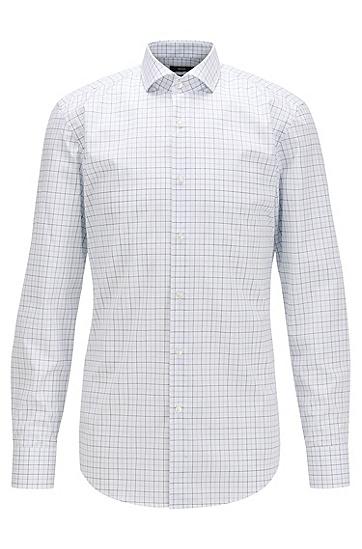 易烫棉府绸格纹修身衬衫,  449_水蓝色