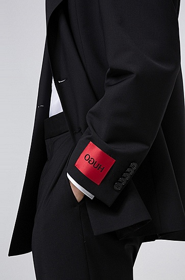 男士初剪羊毛混纺超大款西装,  001_黑色