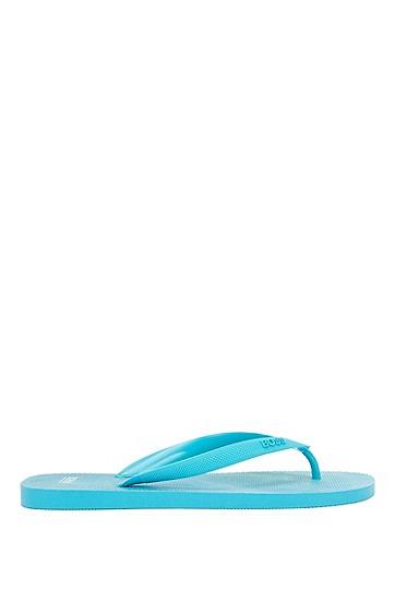 徽标印花鞋带人字拖,  460_淡蓝色