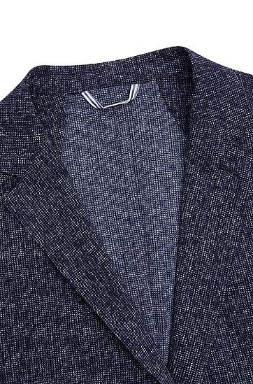 易护理面料图案装饰修身夹克,  402_暗蓝色