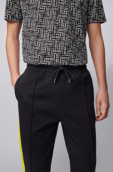 男士侧边条纹和拉链细节棉质慢跑裤,  001_黑色