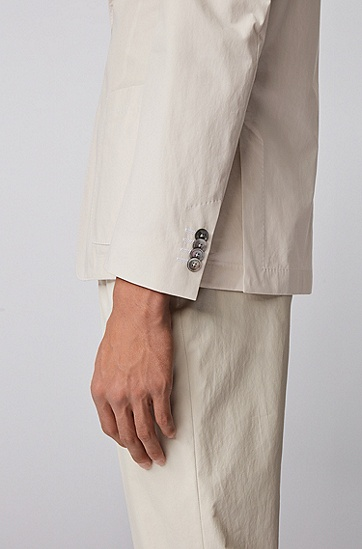 中厚棉质贴袋修身西服夹克,  102_天然色
