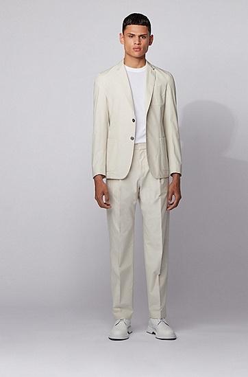 棉质高腰宽松长裤,  102_天然色