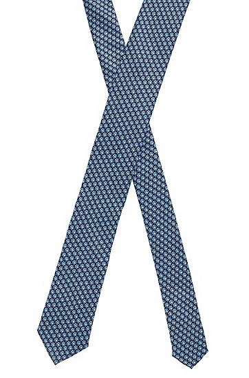 防水印花真丝领带,  402_暗蓝色