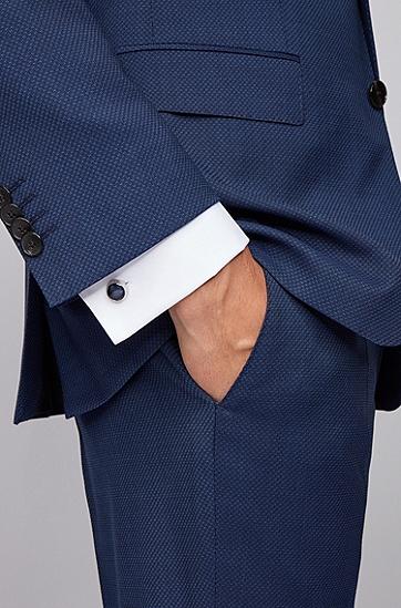男士条纹图案透明珐琅圆形袖扣,  494_淡蓝色