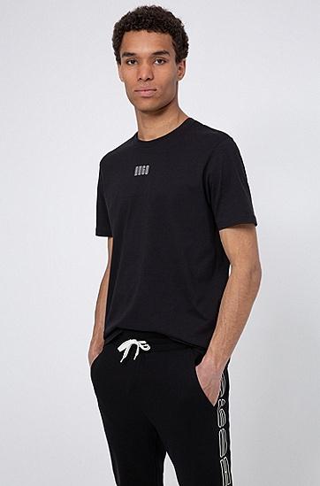 新季徽标印花中性棉 T 恤,  001_黑色