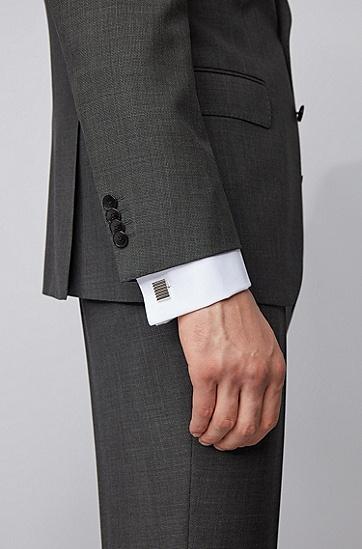 黄铜矩形脊线袖扣,  040_银灰色