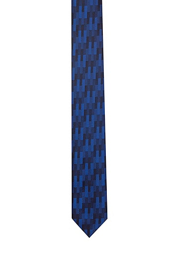 同色几何图案针织提花领带,  405_暗蓝色