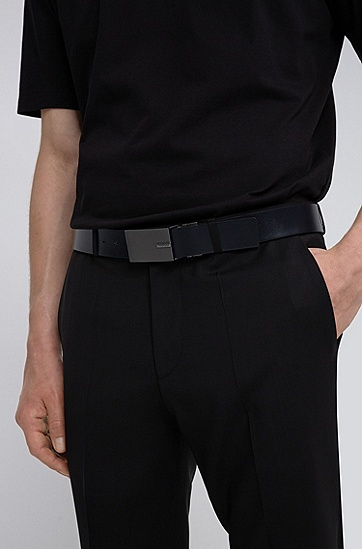 针扣加牌扣双面皮革腰带,  004_黑色