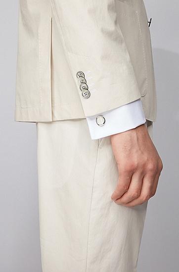 男士激光徽标珍珠母贝嵌片圆形袖扣,  100_白色