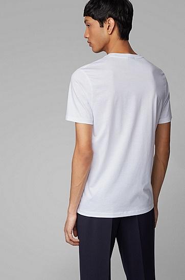 男士迷彩印花徽标丝光棉 T 恤,  100_白色