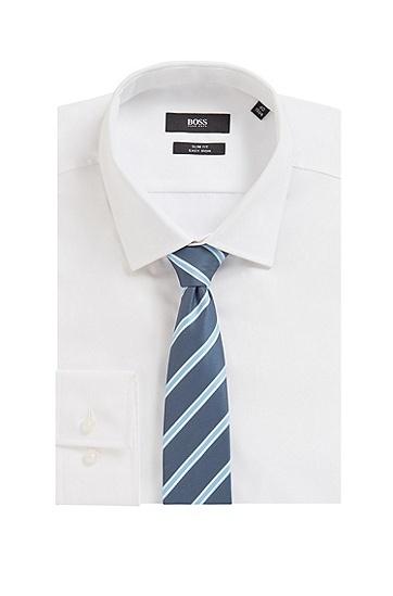 意大利制造再生面料条纹领带,  495_淡蓝色