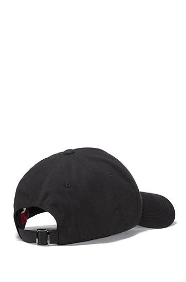 当季徽标刺绣棉质斜纹鸭舌帽,  001_黑色