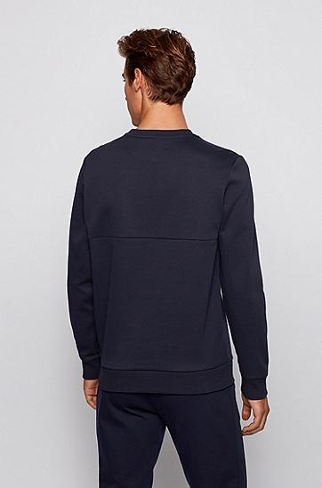 徽标印花圆领运动衫,  402_暗蓝色