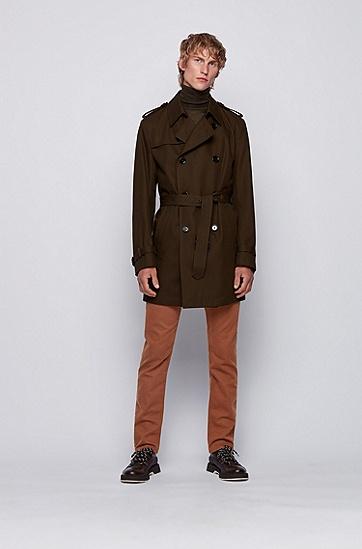 法国毛圈布弹力牛仔布修身牛仔裤,  206_暗棕色