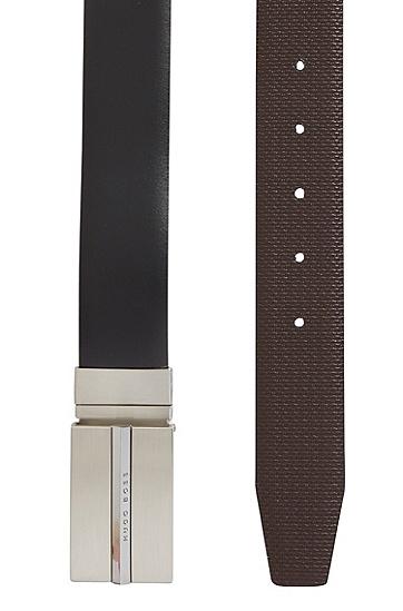 金属配件双面皮革腰带,  002_黑色