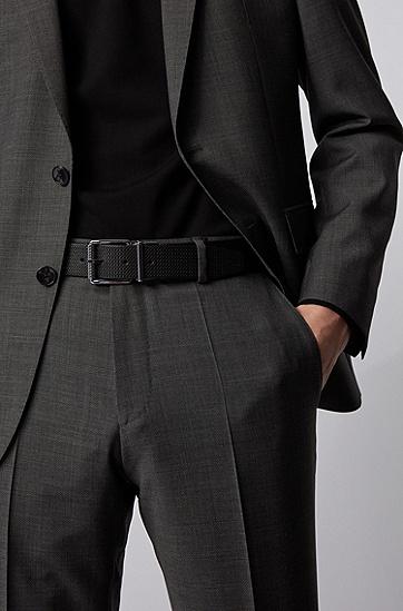 光滑加交织字母压花意大利皮革双面腰带,  002_黑色