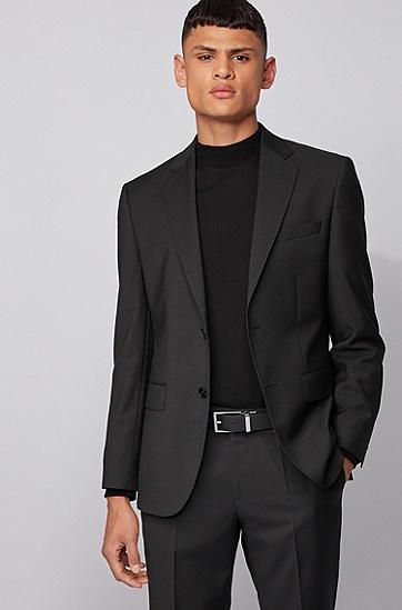 双扣头意大利皮革腰带,  001_黑色