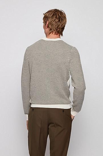微型千鸟格图案初剪羊毛面料修身版毛衣,  118_淡白色