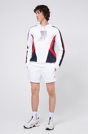 外露式徽标裤腰中性速干泳裤,  100_白色