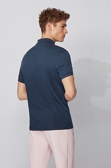 反光细节棉质修身 Polo 衫,  410_海军蓝色