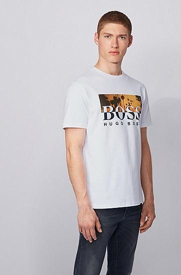 男士印花棉质圆领T恤,  100_白色