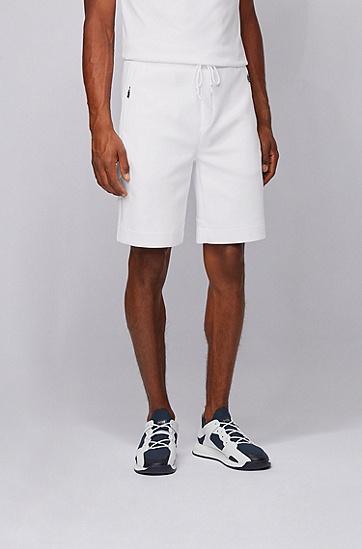 反光细节平针织面料短裤,  100_白色