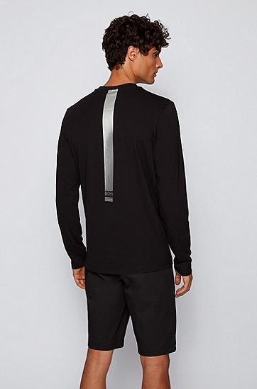 徽标细节装饰弹力棉长袖 T 恤,  009_黑色