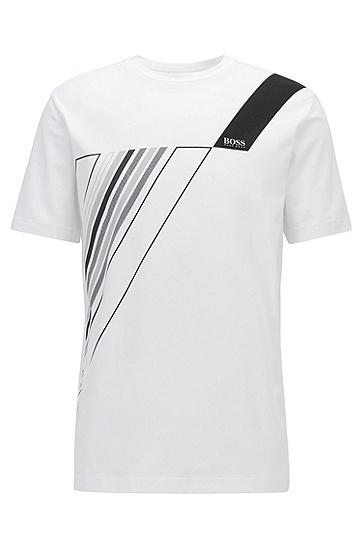 徽标艺术印花弹力棉圆领 T 恤,  100_白色