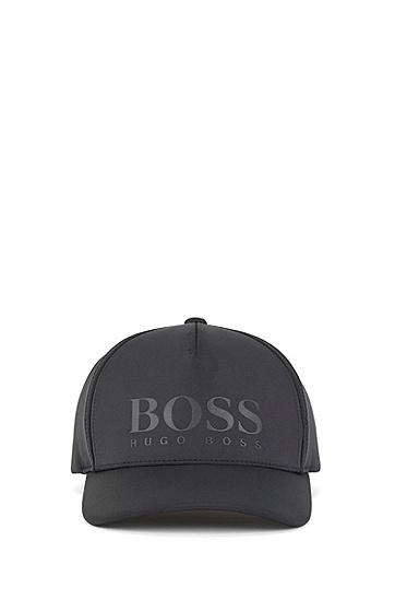 弹力再生面料徽标鸭舌帽,  001_黑色