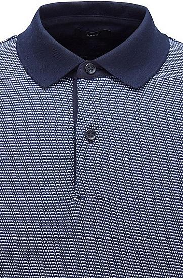 图案装饰棉质修身 Polo 衫,  402_暗蓝色