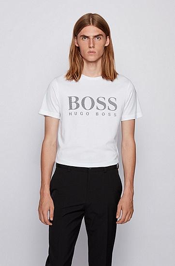 有机棉徽标 T 恤,  100_白色