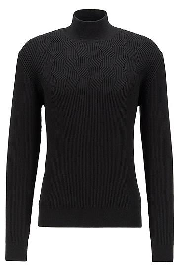 有机棉高翻领毛衣,  001_黑色