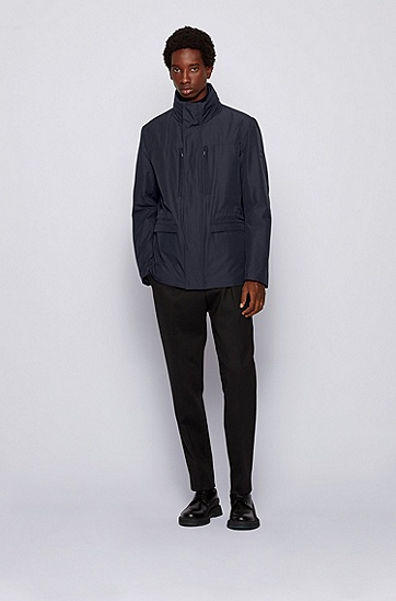 立领休闲夹克外套,  402_暗蓝色