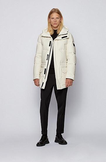 棉质混纺面料防水羽绒夹克,  118_淡白色