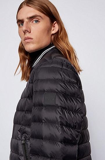 针织衣领和条纹细节装饰的轻盈羽绒夹克,  001_黑色