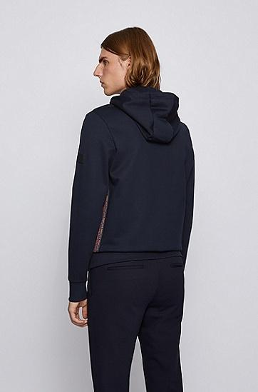 饰以字母组合饰带细节的连帽棉质运动衫,  402_暗蓝色
