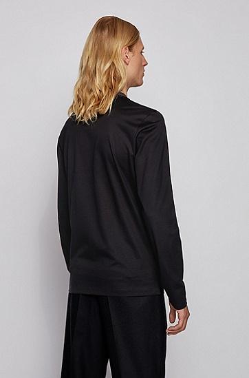 立领棉质修身版 长袖T 恤,  001_黑色
