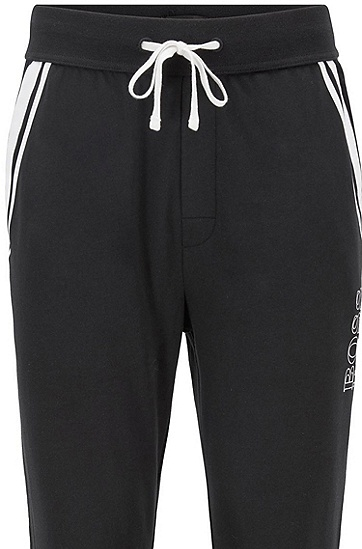撞色条纹法国毛圈布家居便服长裤,  001_黑色