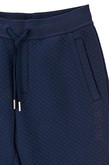 绗缝棉质混纺家居便服长裤,  402_暗蓝色