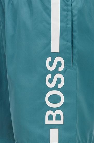 徽标印花游泳短裤,  318_中绿色