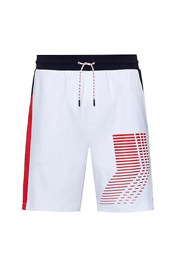图形印花中性棉毛短裤,  100_白色