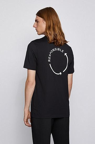 纱线棉质混纺徽标 T 恤,  001_黑色