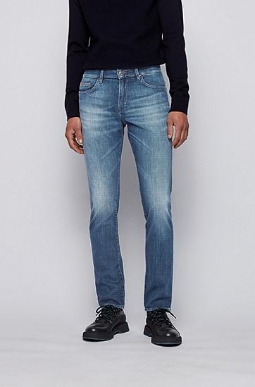意大利蓝色羊绒质感修身牛仔裤,  430_亮蓝色
