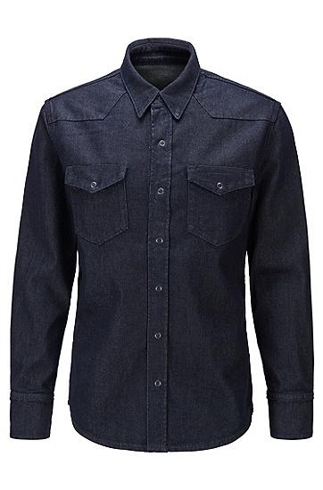 意大利弹力牛仔羊毛宽松版衬衫,  410_海军蓝色