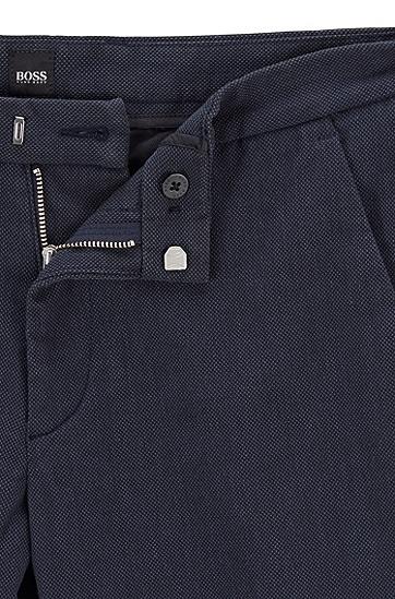 修身版弹力细点棉休闲裤,  402_暗蓝色